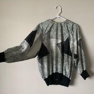 Vintage grayscale geometric Dolman batwing blouse